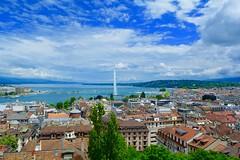 Lake Geneva (AreeyaNuanu) Tags: city travel sky lake tourism switzerland europe geneva jetdeau