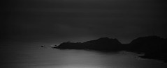 Crocodile Point (World-viewer) Tags: ocean sea blackandwhite bw lighthouse white seascape black water monochrome fog landscape bay harbor marine moody outdoor sony marin horizon ngc shoreline eerie minimal shore edge goldengate bonita headlands minimalism minimalist compelling ptbonita ilce6000