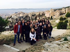 Students gather in front of the Hanging Houses in Cuenca, Spain. (North Central College) Tags: spain cuenca studentlife hanginghouses dterm2015