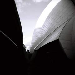 Sydney Opera House #2 (Kerrie McSnap) Tags: blackandwhite bw building 120 film architecture mediumformat square holga lomo lomography kodak tmax toycamera sydney 120film operahouse sydneyoperahouse kodaktmax