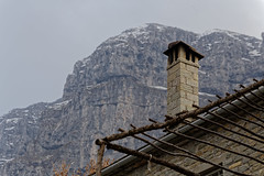 Chimney under the mountain (bbarekas) Tags: chimney mountain greece ioannina zagori timfi mikropapigko