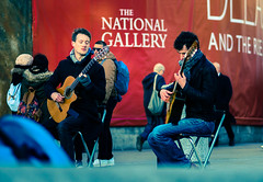 Entertainers - The North Terrace - Trafalgar Square ( Cross Process Effect) (Olympus OMD EM5II & mZuiko 75mm F1.8 Prime) (markdbaynham) Tags: city urban london westminster square prime capital trafalgar evil olympus metropolis f18 omd csc oly mz 75mm londoner londonist m43 zd mft mirrorless micro43 microfourthirds micro43rd mzuiko m43rd em5ii zuikolic