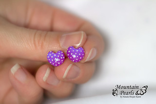 Polymer clay stud earrings, purple post earrings, resin earrings