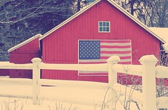 Winter flag on the barn (bpephin) Tags: winter red usa snow barn americanflag flags redwhiteblue usflag oldglory