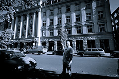 Doing The Hansa (Dave G Kelly) Tags: street bw man berlin germany studios hansa davidbowie buildingexterior hansastudios