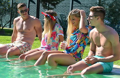 Poolparty. (bertoiaagustina) Tags: she sunset outside gente models drinks pileta he rayban tragos poolparty clothe swimingpool lovelys