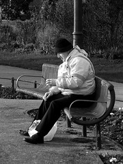 Taste good? (cngphotographic) Tags: park street blackandwhite man bench mono kent break tea candid rest teabreak workman hythe coffeebraek