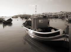 Leonardo da Vinci (albireo 2006) Tags: sea blackandwhite bw harbor boat blackwhite mediterranean harbour malta pb nb bn fishingboat leonardodavinci marsaxlokk fishingport luzzu blackandwhitephotos blackwhitephotos