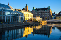 City reflection [Explored 2016-02-16] (Maria Eklind) Tags: city sky sun streets water buildings reflections se sweden sverige malmö sunreflection cityview skeppsbron ljus skånelän malmöcentral bagersbro suellshamnen