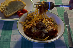 """20160131-IMG_0453 Assignment """"back light/spaghetti""""   also known as dinner! (grammiev) Tags: dinner sauce assignment pasta spaghetti meatballs 366project grammiev"""