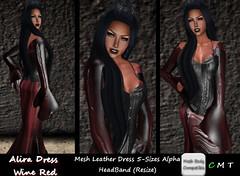 CDAliraDressMeshLeatherWineRed (*CD* Chanla Design) Tags: leather clothing dress mesh cd gothic kleidung vampir kleid meshbody