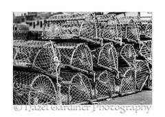 Pots (Hazel M Gardiner) Tags: bw fishing harbour pots lobster
