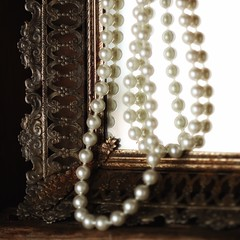 treasures found... (s@ssyl@ssy) Tags: old stilllife macro reflection corner vintage mirror necklace antique pearls tray squarecrop tabletop treasures lostfound filigree macromondays