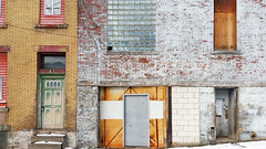 Lovely chaotic wall, Bloomfield, January 14, 2016 (real00) Tags: door city urban building brick industry geometric wall facade landscape paint flickr pittsburgh factory pennsylvania steps quirky glassblock forlorn urbanlandscape bloomfield westernpennsylvania 2000s 2016 alleghenycounty 2010s pittsburghregion willreal williamreal