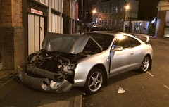 Crashed and dumped Celica in Shoreditch (Sim's pics) Tags: city london silver crashed shoreditch toyota celica t200 sixthgeneration n438lyg