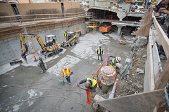 160308_1251_UMS (Central Subway) Tags: sf sanfrancisco project construction demolition muni extension bobcat lightrail unionsquare rebar retainingwall phase2 miniexcavator stocktonstreet scissorlift gearystreet centralsubway sanfranciscomunicipalrailway concreteform sfmta tthirdline sanfranciscomunicipaltransportationagency unionsquaregarage northconcourse northstationentrance