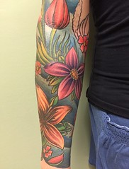 floral sleeve tattoo by Wes Fortier at Burning Hearts Tattoo Co. - Waterbury, CT