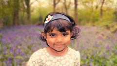 My little bluebell (Riyazi) Tags: flowers blue portrait colour london love girl bluebells forest haze eyes dof child bokeh lavender cutie bokehlicious
