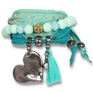 """Green Love"" – Magic Love Armband aus Saris, Darkmetal"