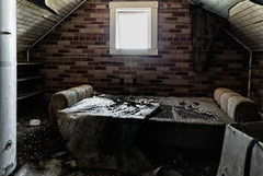 Attic Quarters (KPortin) Tags: wallpaper abandoned window bedroom sofa abandonedhouse lincolncounty