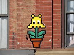 Space Invader NY_158 (tofz4u) Tags: nyc usa streetart ny newyork flower yellow jaune tile mosaic unitedstatesofamerica spaceinvader spaceinvaders invader mosaque artderue tatsunis spaceflower ny158
