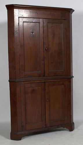 Shenandoah Valley Walnut Blind Door Corner Cupboard - $1045.00