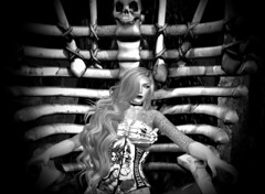 Disturbia (texangelNoel) Tags: art beauty skull taken fantasy blonde his corset throne crossbones disturbia texangelnoel