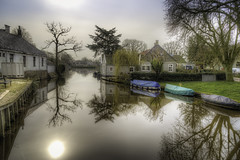 Morning Glory (gibwheels) Tags: morning trees houses holland water netherlands reflections boats canal nikon hdr waterland broek