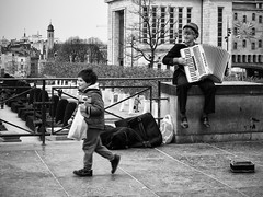 The Accordionist and the Boy. (kitchou1 Thanx 4 UR Visits Coms+Faves.) Tags: street brussels bw garden person child belgique candid instrument rue enfant