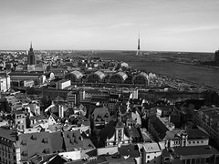 The roofs of Riga (mkorolkov) Tags: city roof sky blackandwhite monochrome skyline architecture river cityscape roofs birdseyeview
