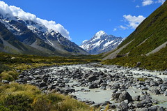 Hooker River with Hooker Glacier at the head (New Zealand) (|kris|) Tags: newzealand cloud mountain lake snow ice nature water grass stone river landscape stream outdoor debris canterbury glacier mackenzie alpine valley scree southisland iceberg alpen gletscher southernalps glaciar neuseeland landschap highest slopes nieuwzeeland mountcook aoraki oceania nuevazelanda rivier sdinsel hookerglacier nuovazelanda subglacial islasur nouvellezlande valei iledusud zuidereiland alpesdusud proglacial montecook maindivide hookerriver neuseelndischealpen alpesneozelandeses hookerglacierlake hookergletscher glacierdevalle rivirehooker bassindemackenzie