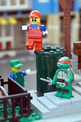 Wrong Pipe (Hobbestimus) Tags: toys lego nintendo cartoon mario 80s videogame nes raphael sewer luigi tmnt lair ninjaturtles supermariobros teenagemutant