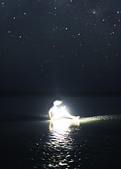 192/365.  Starlight (Zach Jett) Tags: ocean light boy portrait sky reflection art beach water night contrast self dark stars star darkness bright conceptual