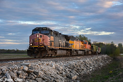 Patched Southern pacific at sunset. (Machme92) Tags: railroad sky usa up clouds union rail bn southern sp missouri rails ge railyard railfan bnsf railroads southernpacific railfanning dash9 railfans oldmonroe unionpacifc burligrton