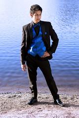 Rhapsody in Blue (Noah Carr) Tags: california ca blue lake color classic monochrome contrast evening spring warm mood photoshoot dusk formal lakeside suit tuxedo saturation fancy vest tux rhapsody vibrance