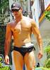 IMG_0873 (danimaniacs) Tags: shirtless hunk man guy stud muscular muscle sexy beard scruff jewelry swimsuit trunks lycra speedo puertovallarta mexico hat cap mansolo