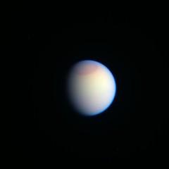 Tanned Titan (sjrankin) Tags: moon clouds haze edited nasa colorized saturn titan rgb redbl1uv3 24april2016