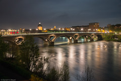 """And the last one of this bridge: the """"Pont des Catalans"""" in Toulouse, France (Anselm11) Tags: pontdescatalans toulouse noghtshot nachtaufnahme spiegelung longexposure langzeitbelichtung"""