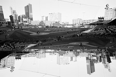 63240024 (conorschall) Tags: bw film 35mm nikon downtown doubleexposure wide wideangle double xp2 toledo ilford 17mm mudhens