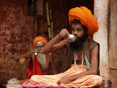 Sadhu breakfast, Varanasi ghats, India (magbrinik) Tags: orange sacred varanasi spirituality spiritual hindu hinduism baba sadhu reportage sacro benares santone travelphotography breakfasttime gangariver indianculture induism riverflow sacredriver traditionallife sacredcity sadhuportrait