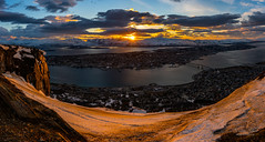"""Panorama shot from """"Fjellheisen"""" Troms (Northernphoto) Tags: city sunset sky panorama mountain snow car norway fire norge cable dirty northern nord troms fjellheisen storsteinen northernphoto"""