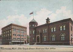 Post Office, Elks Temple, and Brown Block, Kalamazoo, Mich., Front (kplcommons) Tags: red building brick architecture michigan postcard postoffice kalamazoo buidling unitedstatespostalservice kalamazoopubliclibrary elkstemple brownblock