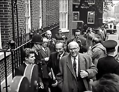 1964. Frank Cousins, Minister of Technology Arrives At No 10, Downing Street, Westminster, London, SW1. UK. To Attend The First Cabinet Meeting Of The Prime Minister, Harold Wilson. (sgterniebilko) Tags: street uk people london station 60s 10 no crowd ad police delta row cannon 1960s alpha metropolitan 1964 downingstreet londonpolice constable downing policelondon