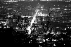 Vodno Skopje - Macedonia (Custom Illusion) Tags: city panorama white black film monochrome lights nikon 300mm macedonia 100 pan f3 nikkor ilford skopje vodno ilfordpan100 filmisnotdead film:brand=ilford film:iso=100 developer:brand=adox adoxadonal film:name=ilfordpan100 developer:name=adoxadonal filmdev:recipe=10573