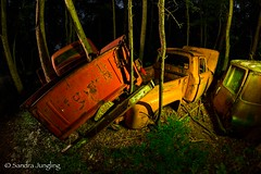 Stacked up in the trees (Aztravelgrl (Sandra Jungling)) Tags: longexposure nightphotography usa white car georgia us lowlight unitedstates abandon moonlight oldcarcity