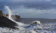 High Tide at Porthcawl (TyroneRose) Tags: sea lighthouse wales clouds high waves tide porthcawl
