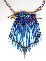 WaterlilyandVine (waterlilyandvine) Tags: fiberart beadednecklace wirewrappedjewelry bibnecklace wirewrappednecklace fibernecklace themedjewelry starrynightnecklace waterlilyandvine