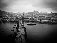 Karlův most and the Prazsky hrad! (Halibel14) Tags: bridge blackandwhite castle pen river view prague olympus czechrepublic charlesbridge praguecastle karlůvmost prazskyhrad epl1