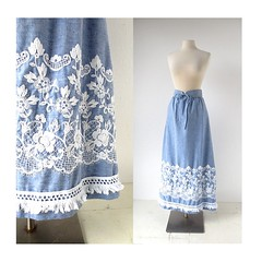 1970s bohemian embroidered chambray maxi skirt (Small Earth Vintage) Tags: blue skirt 70s 1970s embroidered vintageclothing vintagefashion womensfashion chambray maxiskirt smallearthvintage jamisonboutique