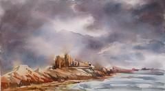 Le ciel: pour le groupe DEFIACA, défi de février 2016 (geneterre69) Tags: mer watercolor aquarelle rochers